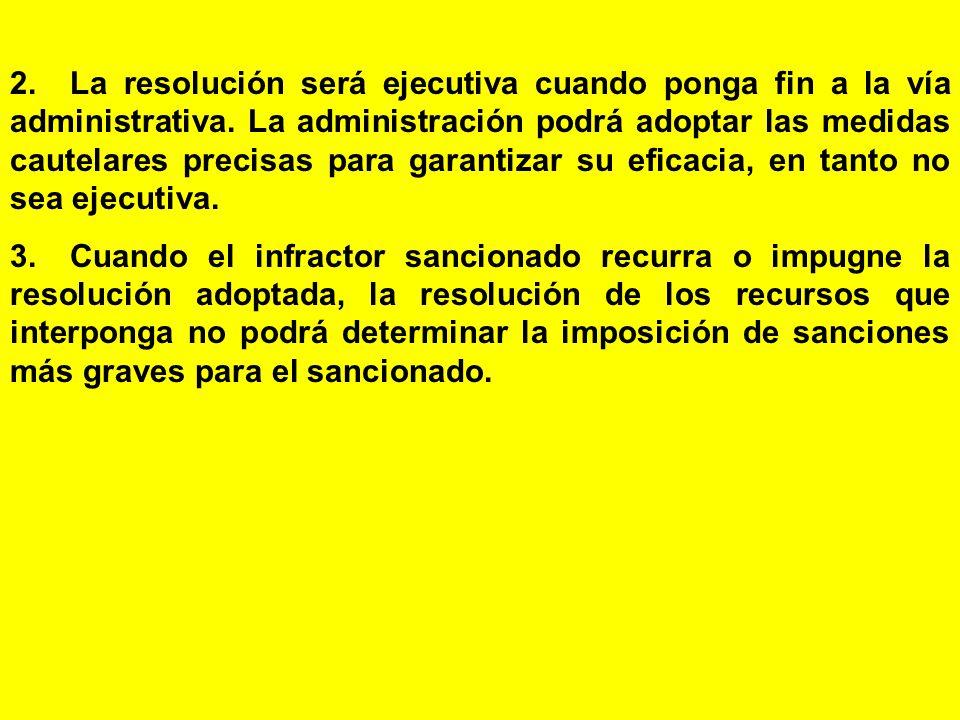 2. La resolución será ejecutiva cuando ponga fin a la vía administrativa. La administración podrá adoptar las medidas cautelares precisas para garantizar su eficacia, en tanto no sea ejecutiva.