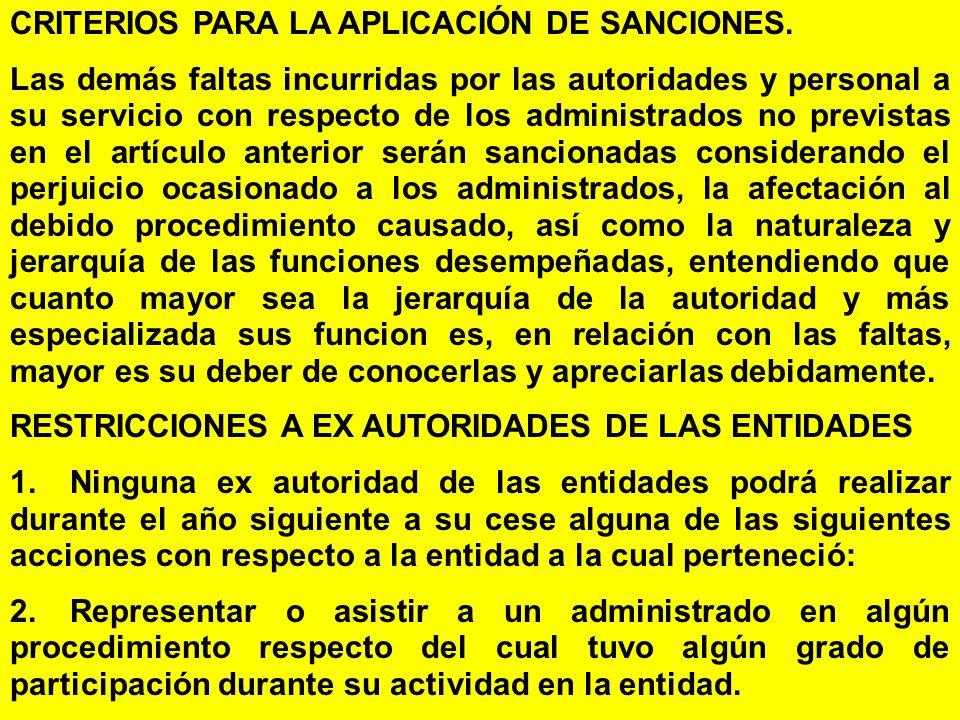CRITERIOS PARA LA APLICACIÓN DE SANCIONES.