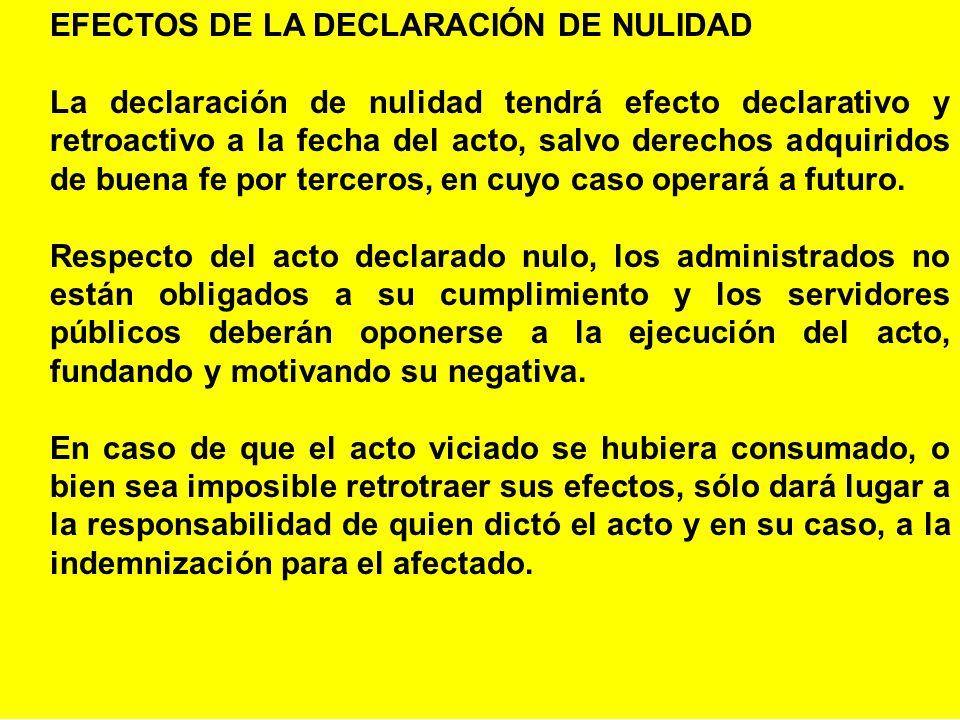EFECTOS DE LA DECLARACIÓN DE NULIDAD