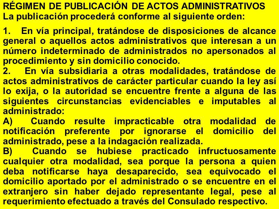 RÉGIMEN DE PUBLICACIÓN DE ACTOS ADMINISTRATIVOS