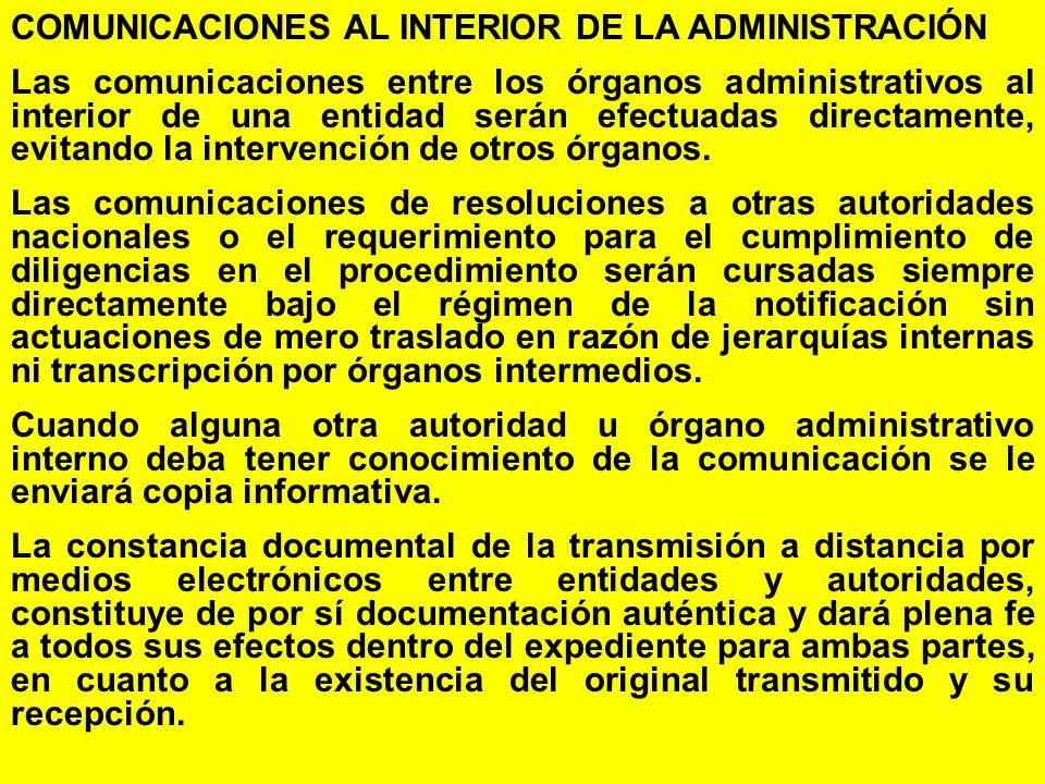 COMUNICACIONES AL INTERIOR DE LA ADMINISTRACIÓN