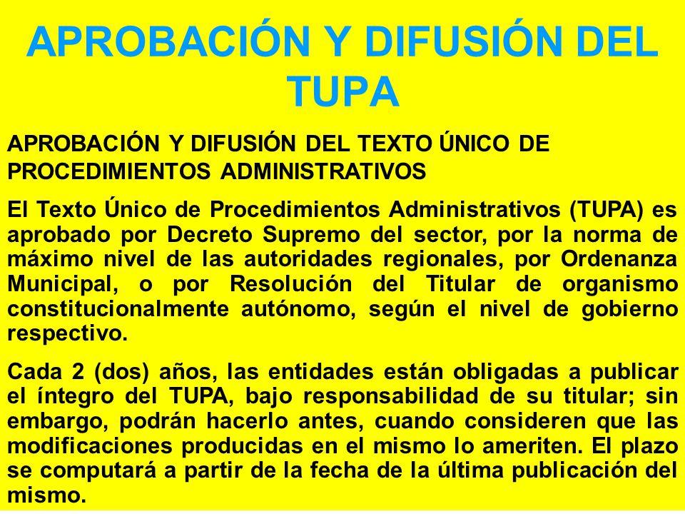 APROBACIÓN Y DIFUSIÓN DEL TUPA