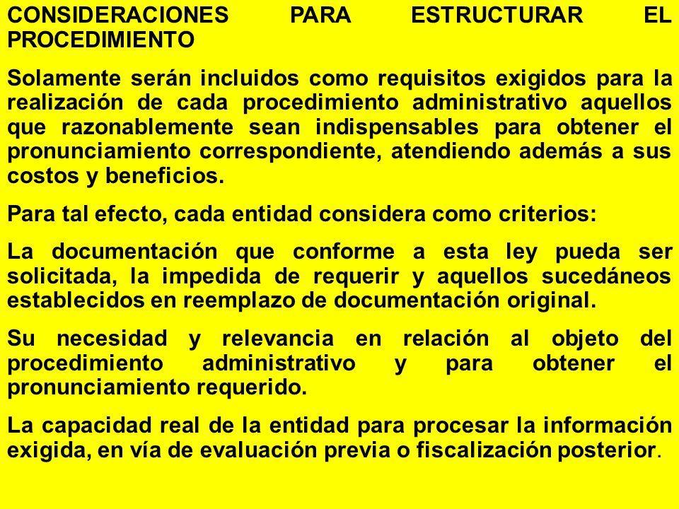 CONSIDERACIONES PARA ESTRUCTURAR EL PROCEDIMIENTO