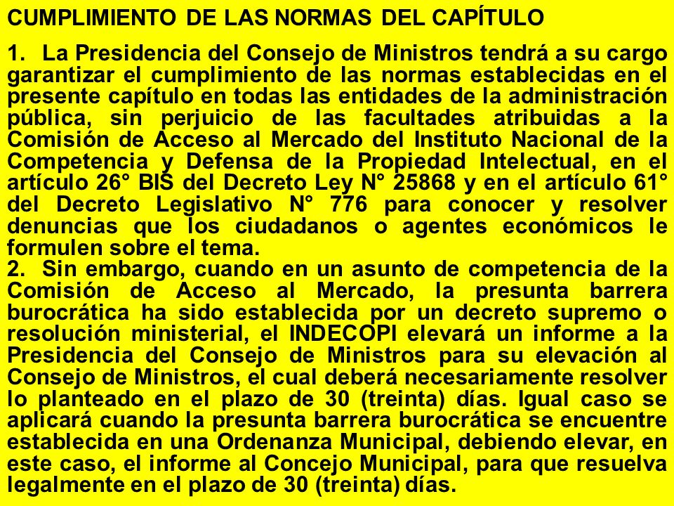 CUMPLIMIENTO DE LAS NORMAS DEL CAPÍTULO