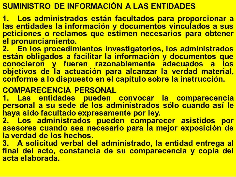 SUMINISTRO DE INFORMACIÓN A LAS ENTIDADES