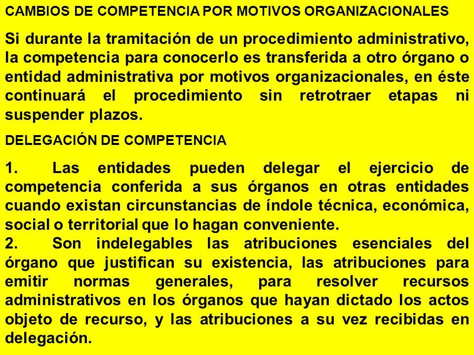 CAMBIOS DE COMPETENCIA POR MOTIVOS ORGANIZACIONALES