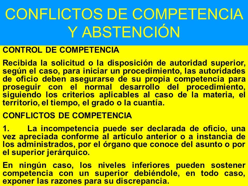 CONFLICTOS DE COMPETENCIA Y ABSTENCIÓN