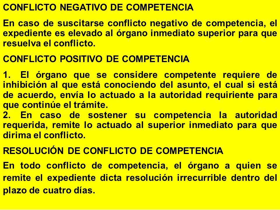 CONFLICTO NEGATIVO DE COMPETENCIA