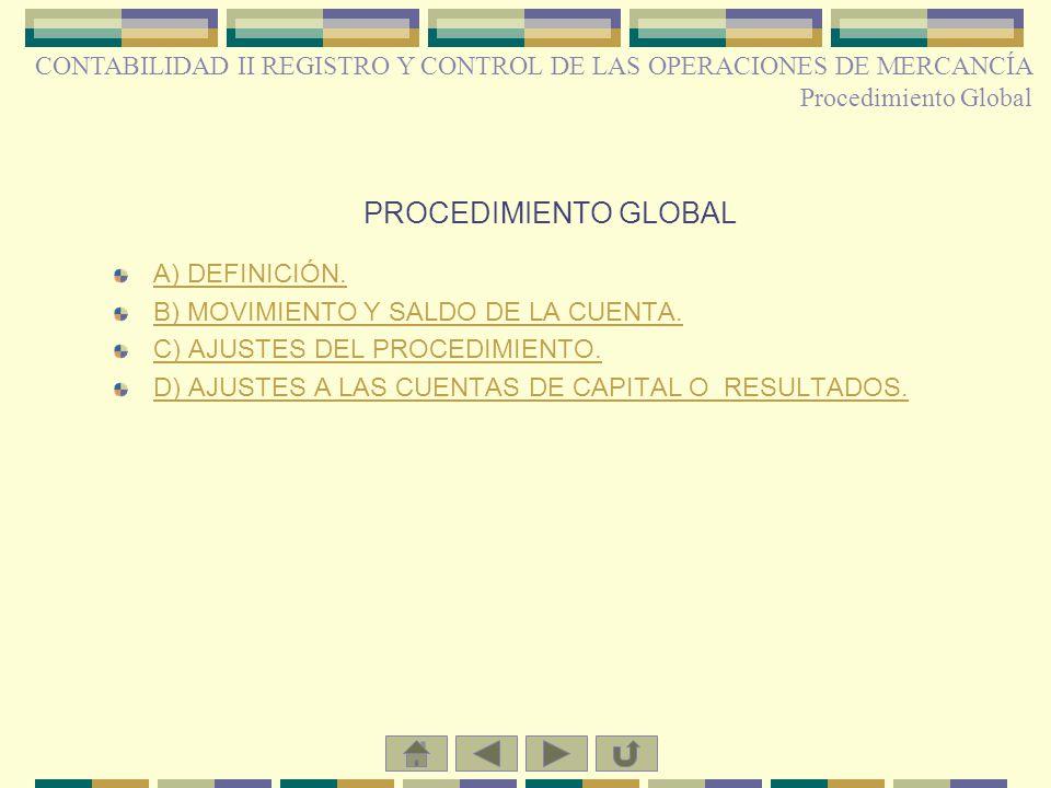 CONTABILIDAD II REGISTRO Y CONTROL DE LAS OPERACIONES DE MERCANCÍA Procedimiento Global