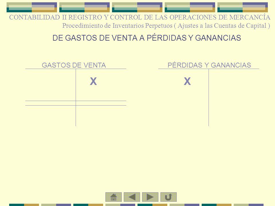 DE GASTOS DE VENTA A PÉRDIDAS Y GANANCIAS