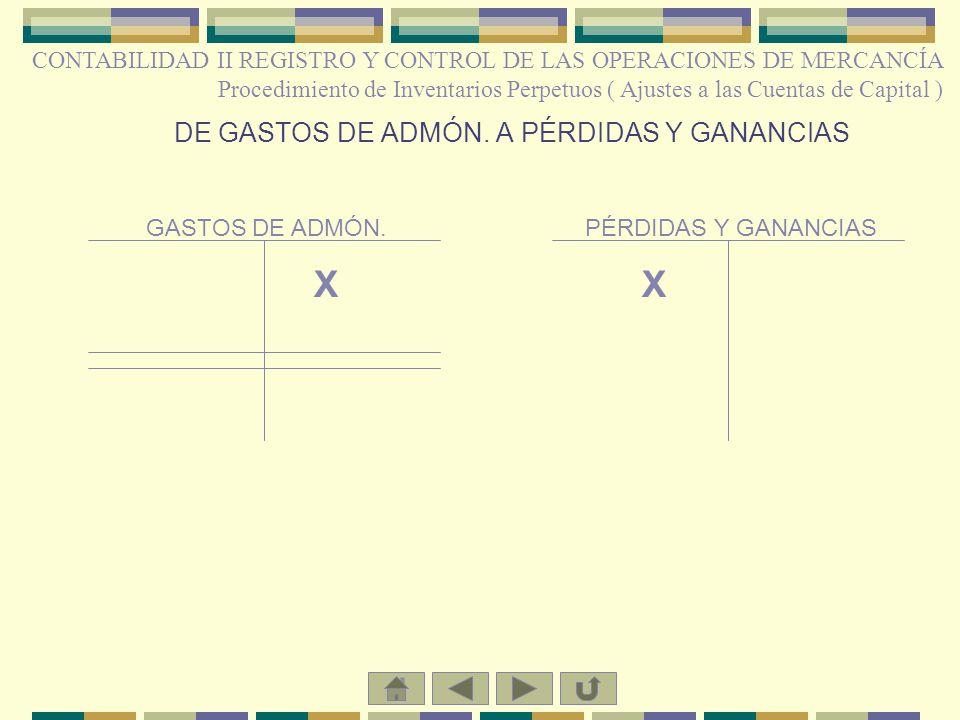 DE GASTOS DE ADMÓN. A PÉRDIDAS Y GANANCIAS