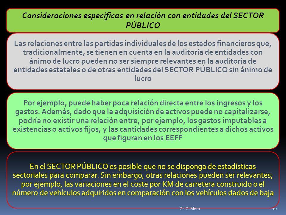 Consideraciones específicas en relación con entidades del SECTOR PÚBLICO