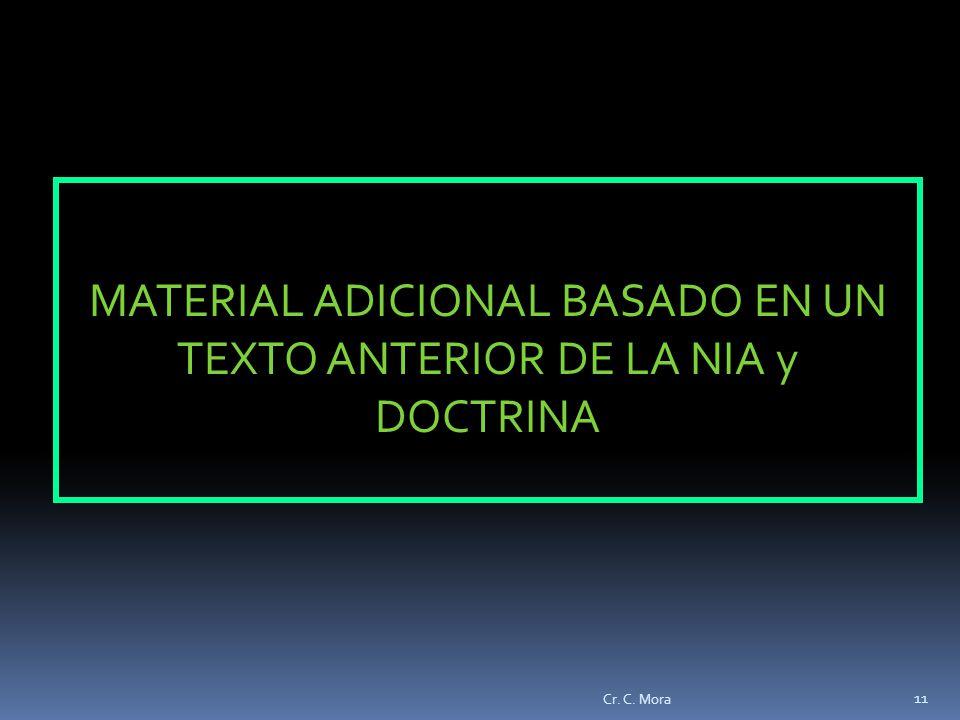 MATERIAL ADICIONAL BASADO EN UN TEXTO ANTERIOR DE LA NIA y DOCTRINA