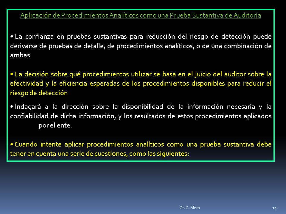 Aplicación de Procedimientos Analíticos como una Prueba Sustantiva de Auditoría