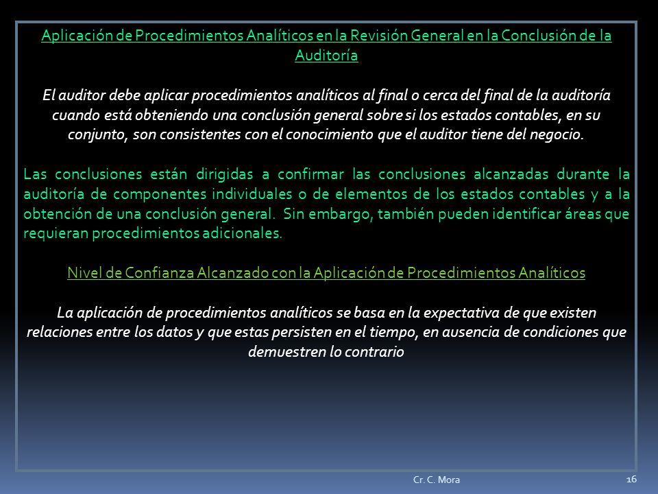 Aplicación de Procedimientos Analíticos en la Revisión General en la Conclusión de la Auditoría
