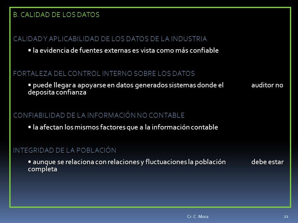 CALIDAD Y APLICABILIDAD DE LOS DATOS DE LA INDUSTRIA
