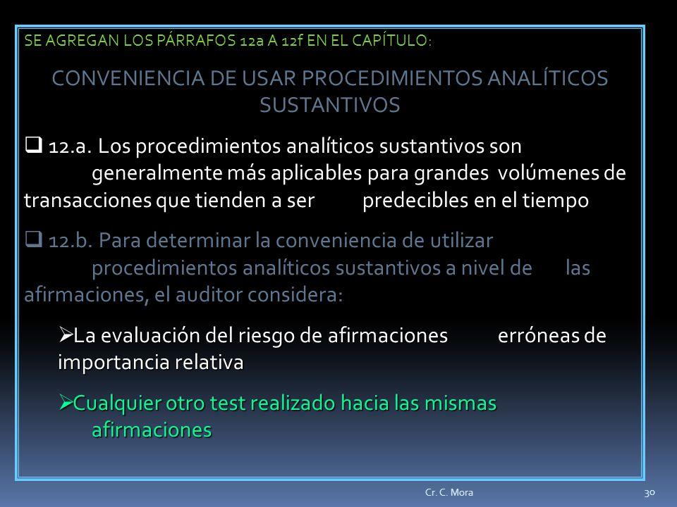 CONVENIENCIA DE USAR PROCEDIMIENTOS ANALÍTICOS SUSTANTIVOS