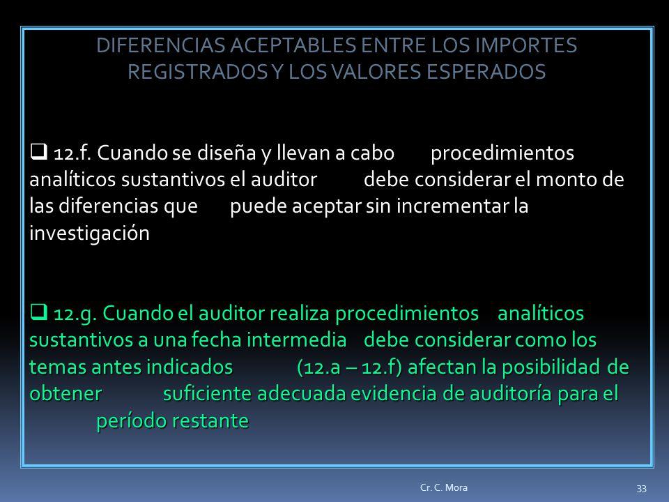 DIFERENCIAS ACEPTABLES ENTRE LOS IMPORTES REGISTRADOS Y LOS VALORES ESPERADOS