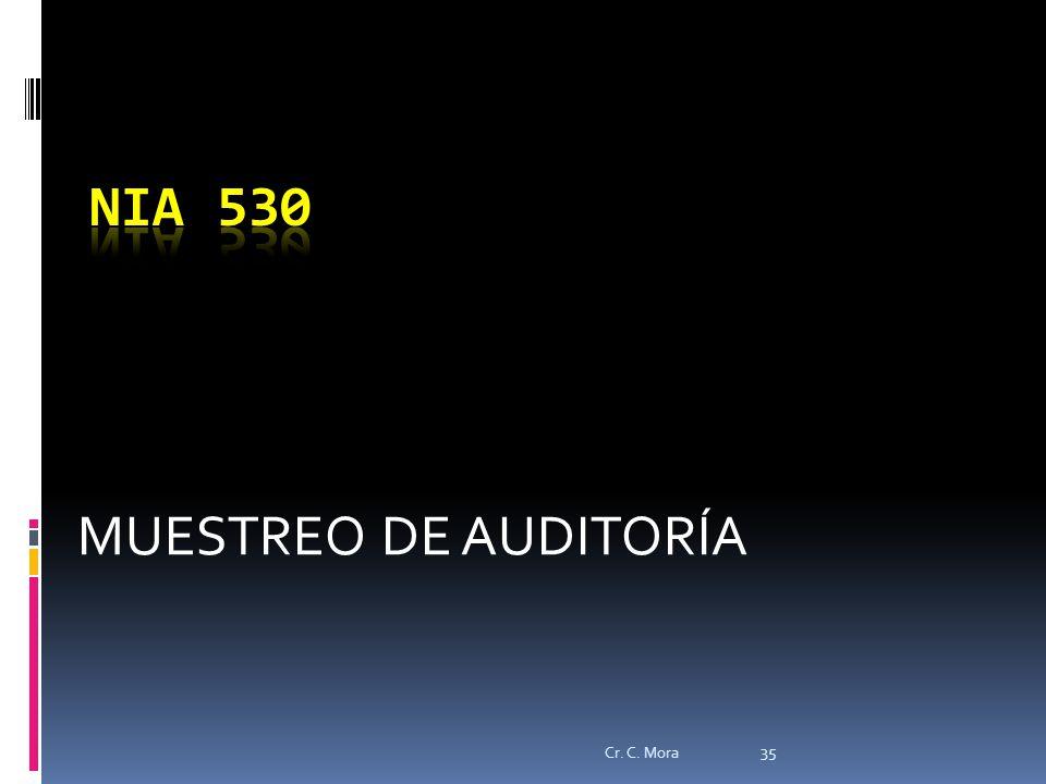 NIA 530 MUESTREO DE AUDITORÍA Cr. C. Mora