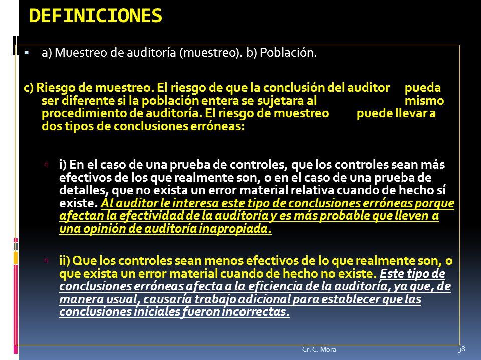 DEFINICIONES a) Muestreo de auditoría (muestreo). b) Población.