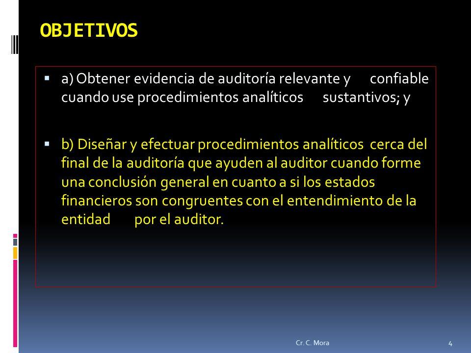 OBJETIVOS a) Obtener evidencia de auditoría relevante y confiable cuando use procedimientos analíticos sustantivos; y.