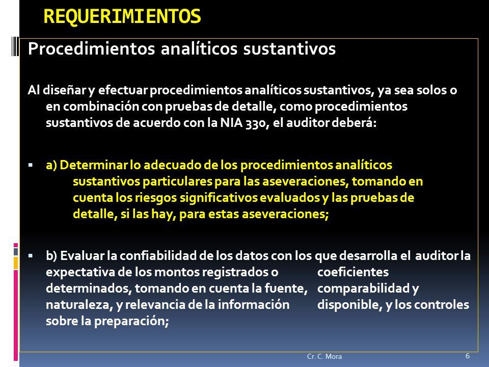 REQUERIMIENTOS Procedimientos analíticos sustantivos