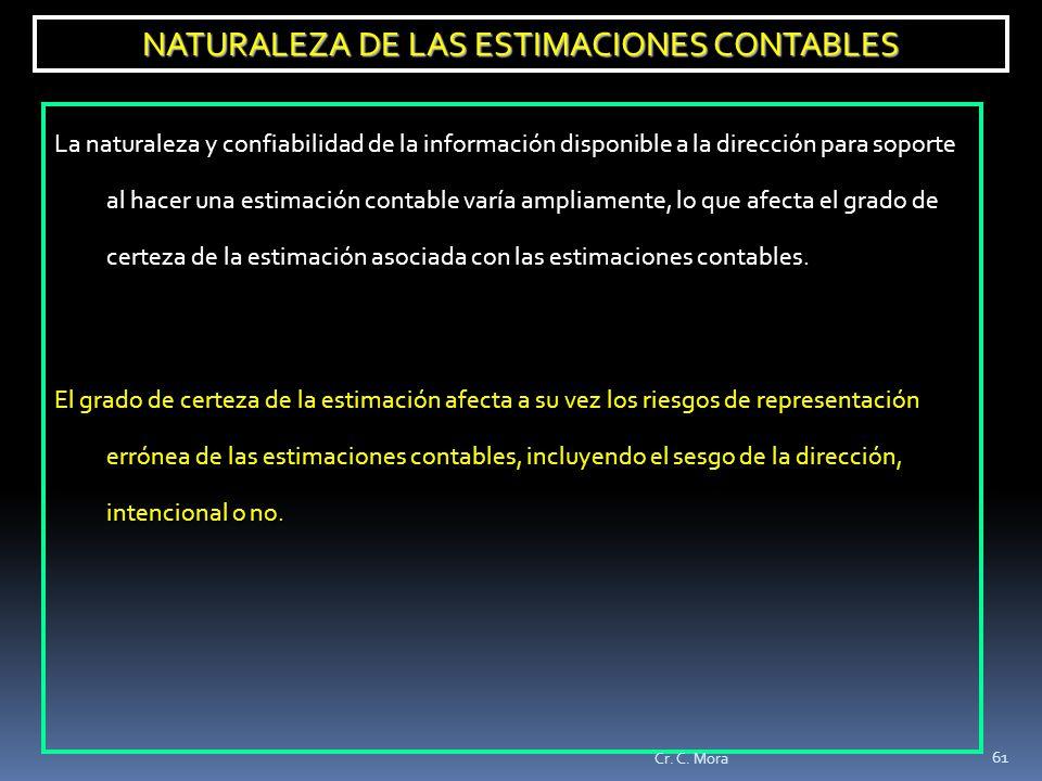 NATURALEZA DE LAS ESTIMACIONES CONTABLES