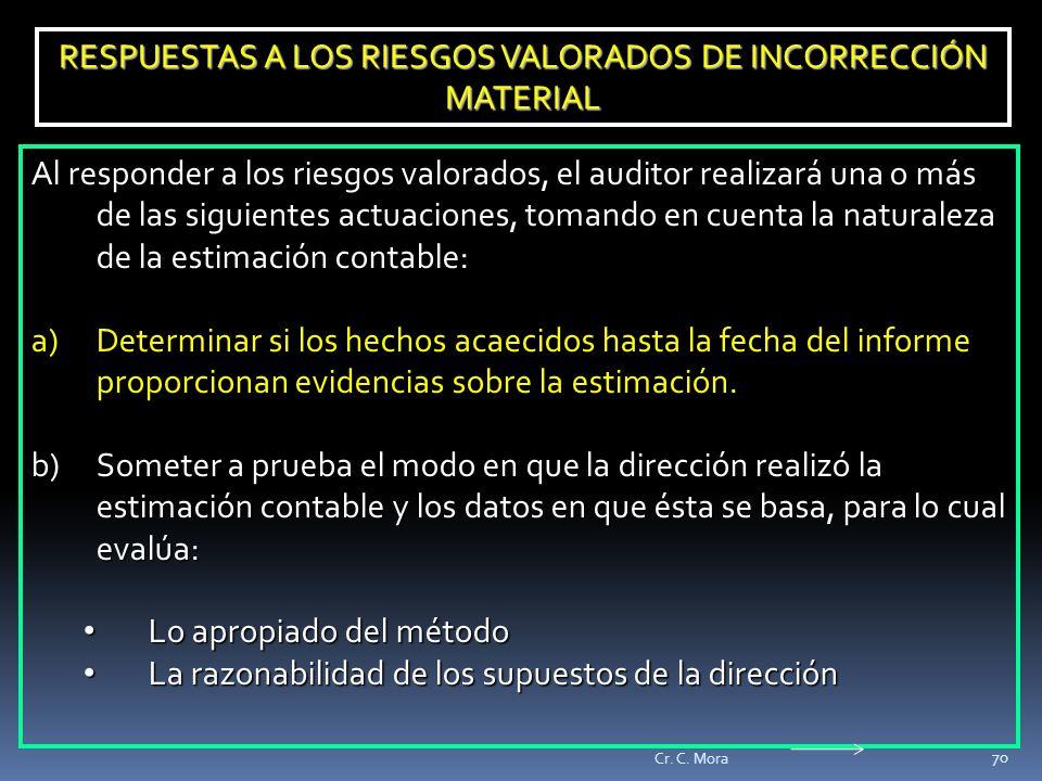 RESPUESTAS A LOS RIESGOS VALORADOS DE INCORRECCIÓN MATERIAL