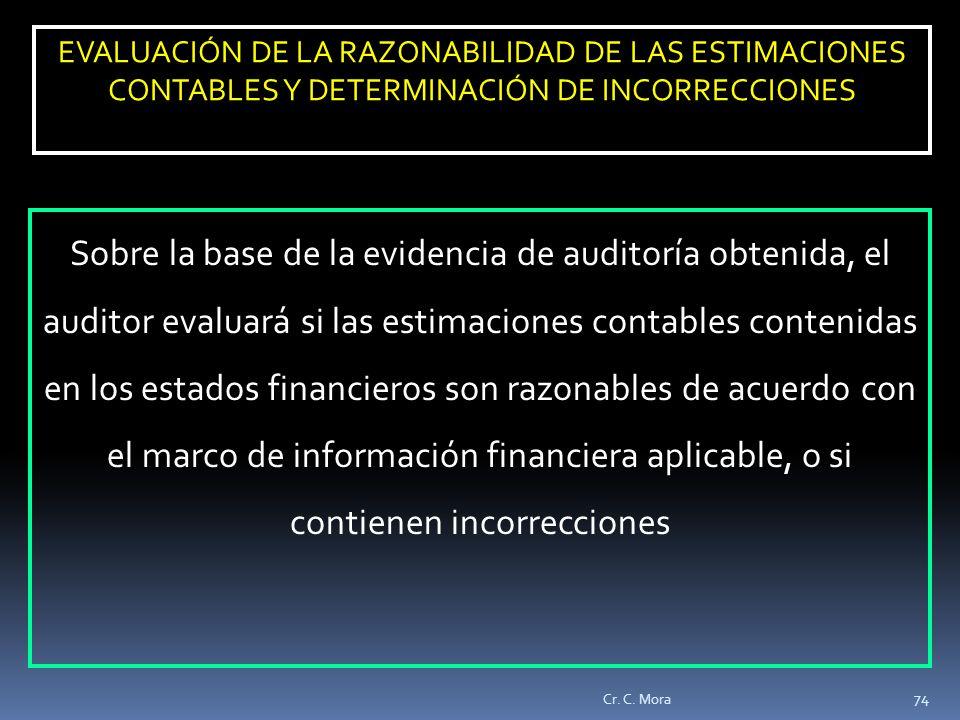 EVALUACIÓN DE LA RAZONABILIDAD DE LAS ESTIMACIONES CONTABLES Y DETERMINACIÓN DE INCORRECCIONES