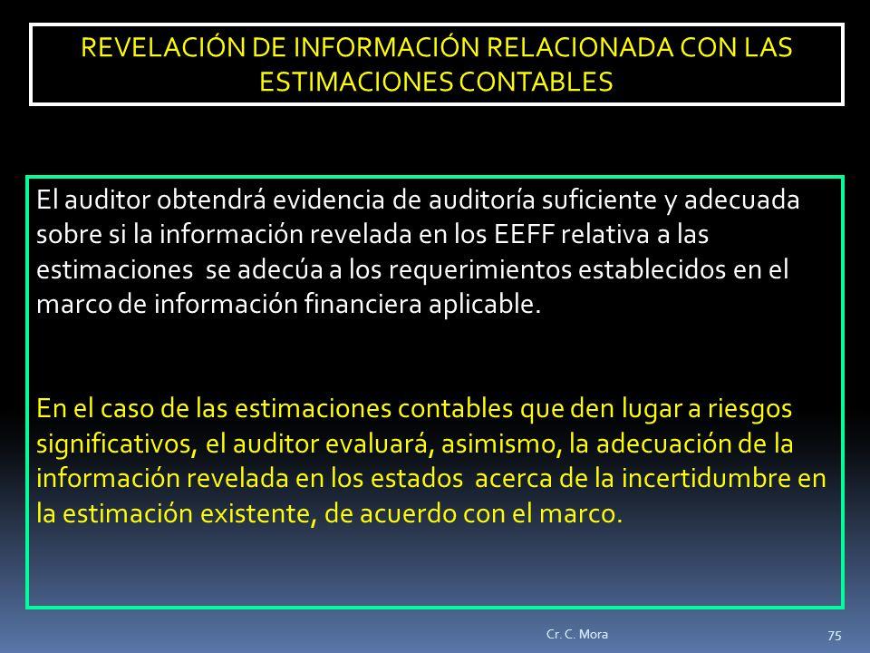 REVELACIÓN DE INFORMACIÓN RELACIONADA CON LAS ESTIMACIONES CONTABLES