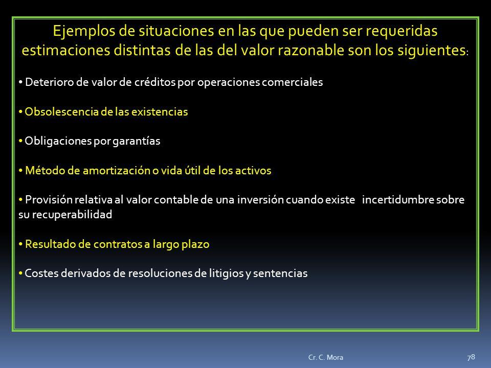 Ejemplos de situaciones en las que pueden ser requeridas estimaciones distintas de las del valor razonable son los siguientes: