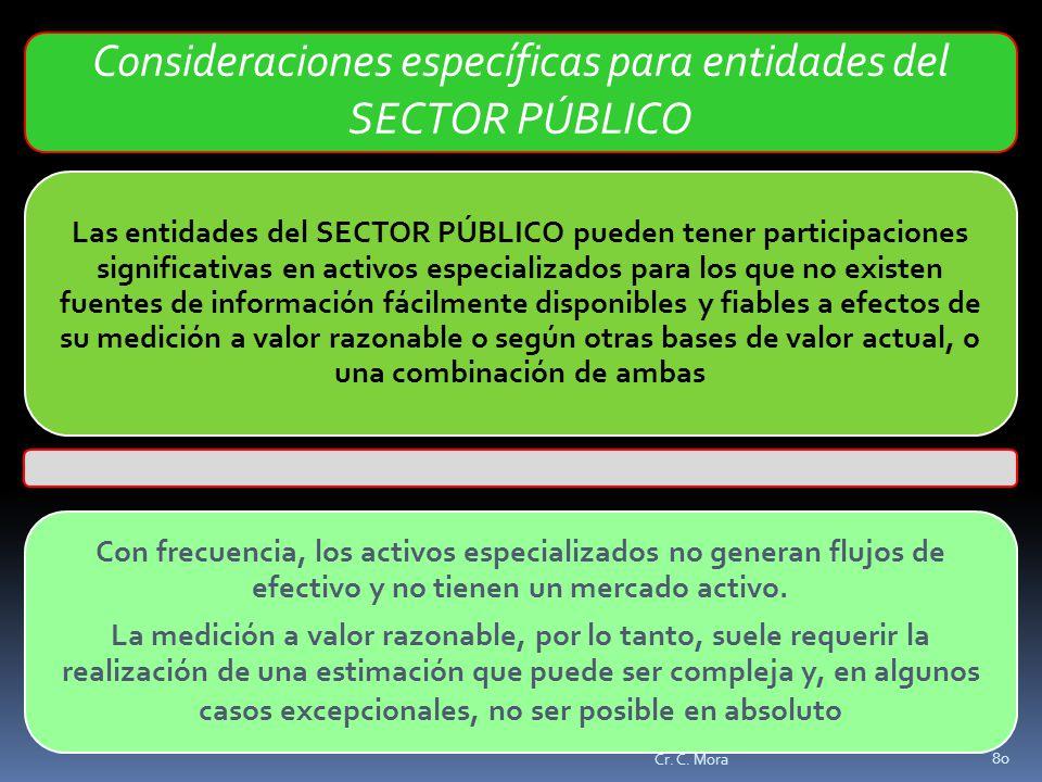 Consideraciones específicas para entidades del SECTOR PÚBLICO
