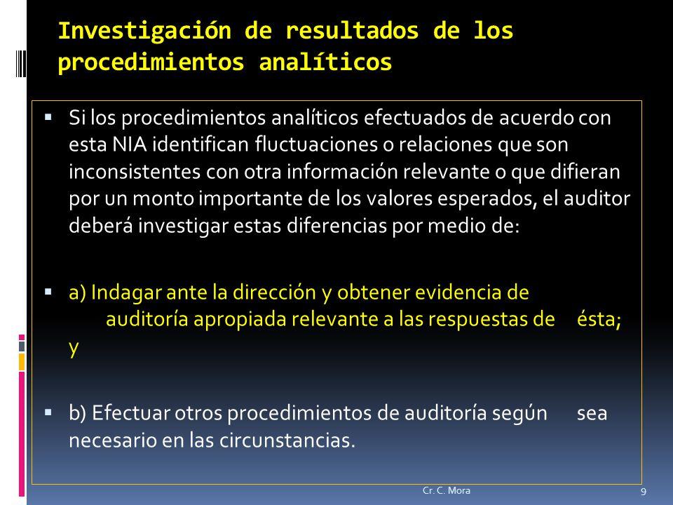 Investigación de resultados de los procedimientos analíticos
