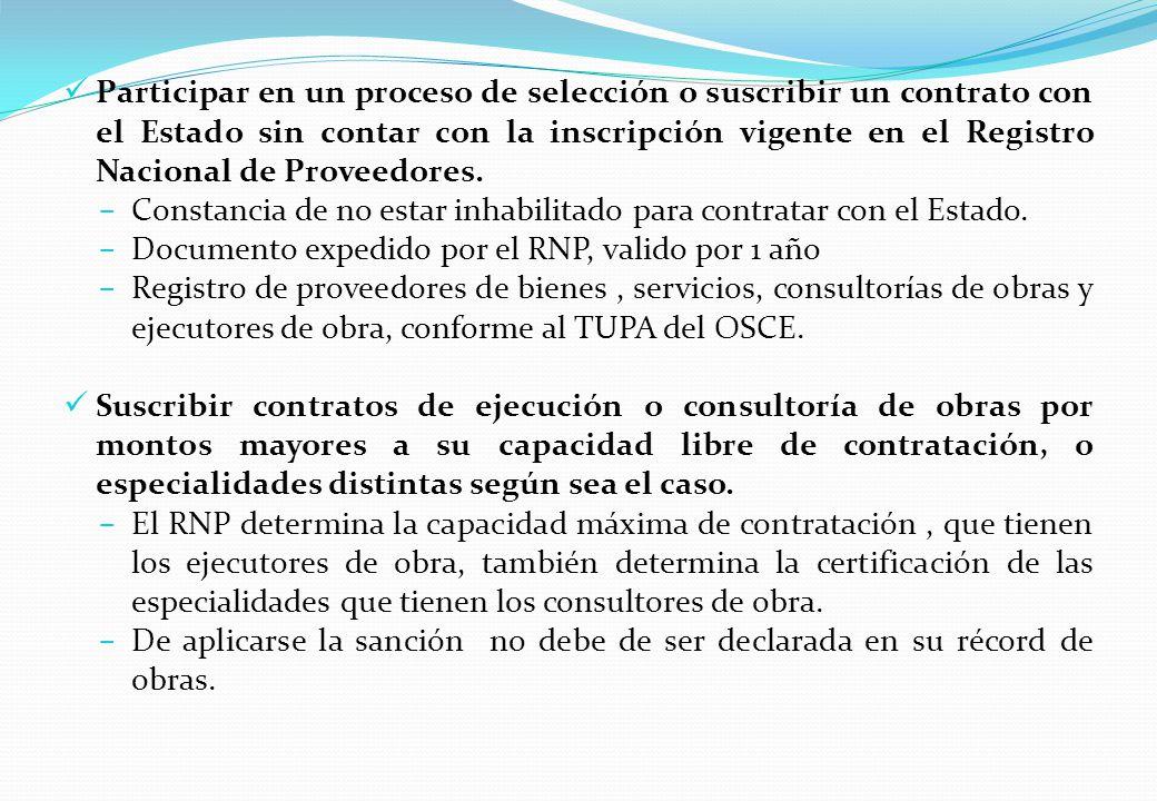 Participar en un proceso de selección o suscribir un contrato con el Estado sin contar con la inscripción vigente en el Registro Nacional de Proveedores.