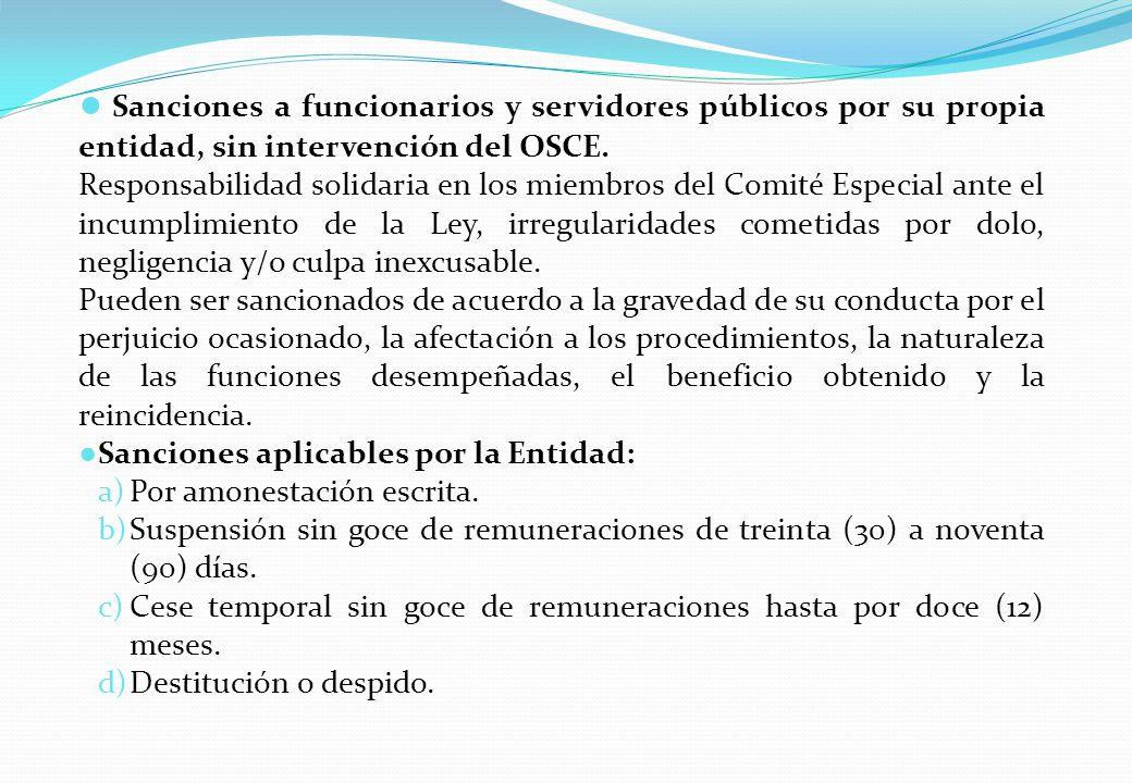 Sanciones a funcionarios y servidores públicos por su propia entidad, sin intervención del OSCE.