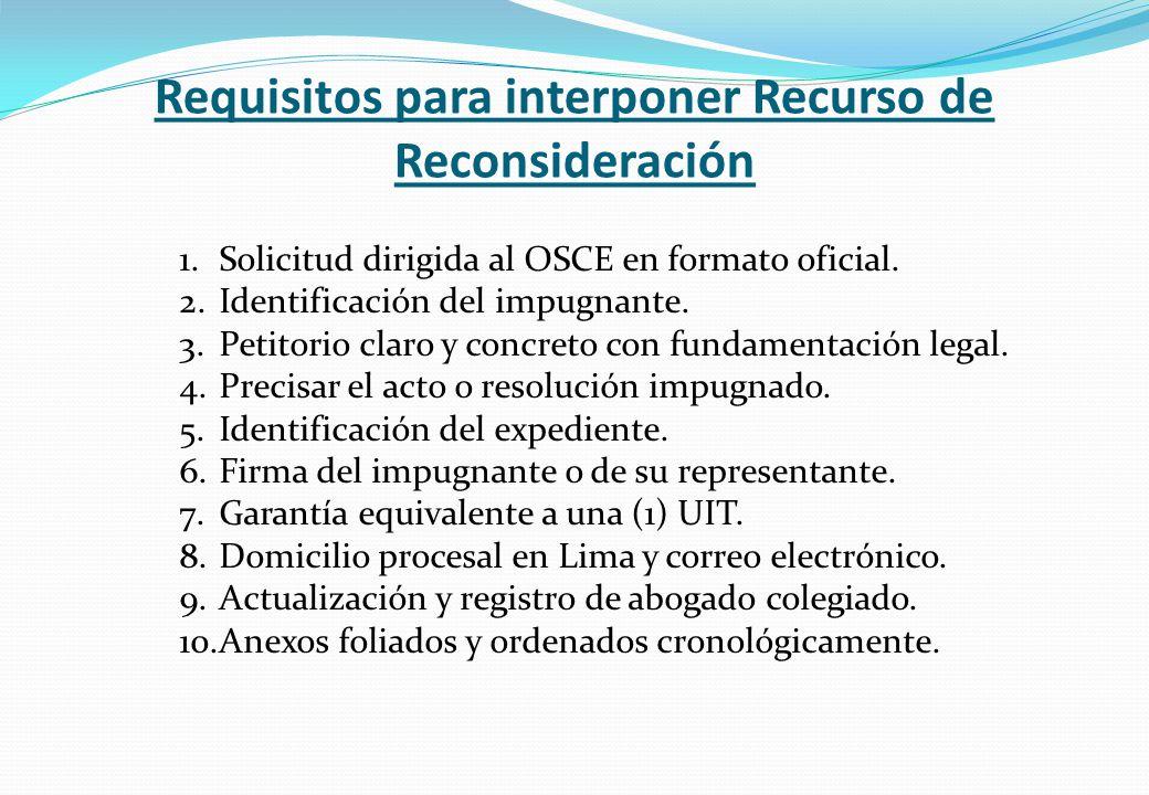 Requisitos para interponer Recurso de Reconsideración