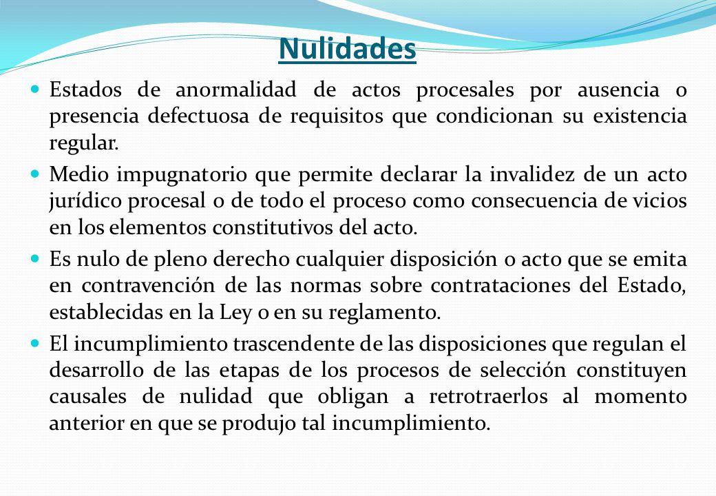 Nulidades Estados de anormalidad de actos procesales por ausencia o presencia defectuosa de requisitos que condicionan su existencia regular.
