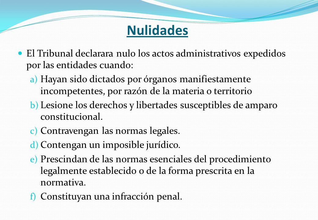 Nulidades El Tribunal declarara nulo los actos administrativos expedidos por las entidades cuando: