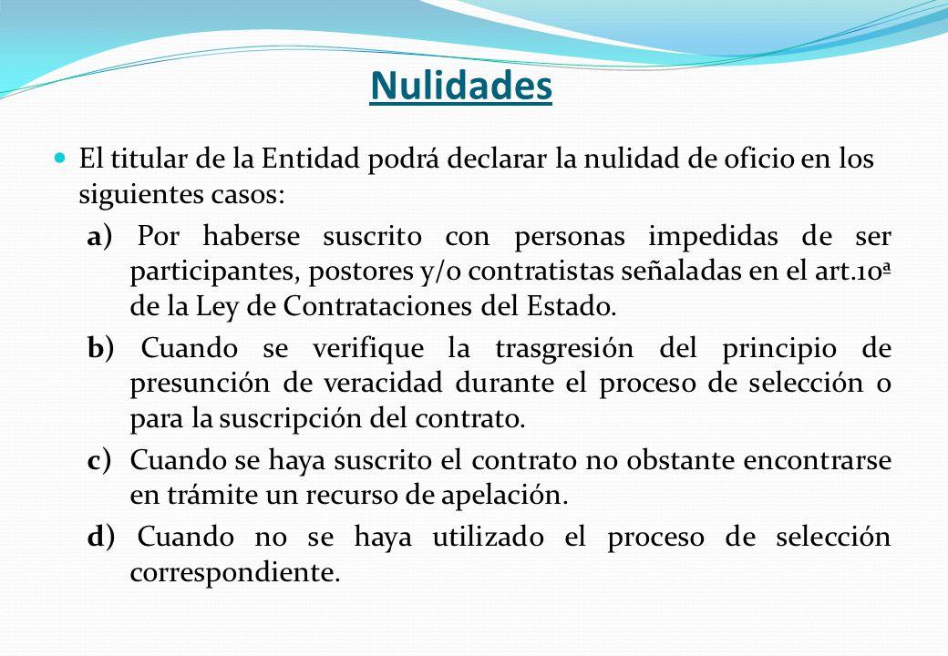 Nulidades El titular de la Entidad podrá declarar la nulidad de oficio en los siguientes casos: