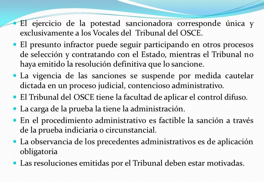 El ejercicio de la potestad sancionadora corresponde única y exclusivamente a los Vocales del Tribunal del OSCE.