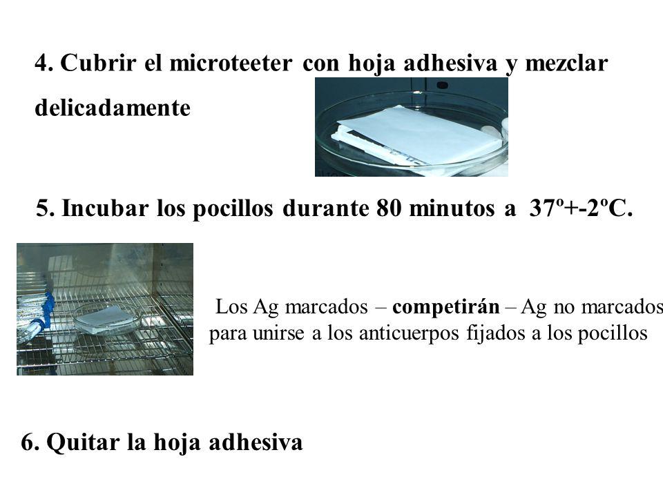 4. Cubrir el microteeter con hoja adhesiva y mezclar delicadamente