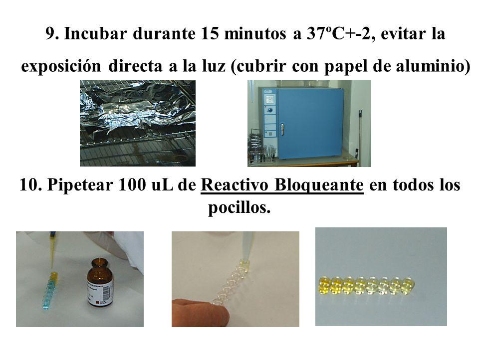 10. Pipetear 100 uL de Reactivo Bloqueante en todos los pocillos.