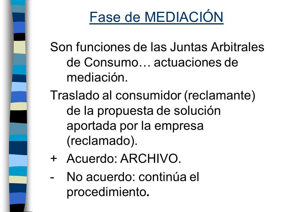 Fase de MEDIACIÓN Son funciones de las Juntas Arbitrales de Consumo… actuaciones de mediación.