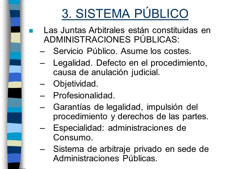 3. SISTEMA PÚBLICO Las Juntas Arbitrales están constituidas en ADMINISTRACIONES PÚBLICAS: Servicio Público. Asume los costes.