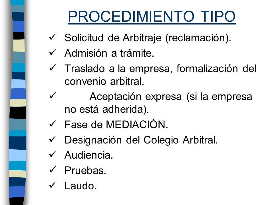 PROCEDIMIENTO TIPO Solicitud de Arbitraje (reclamación).