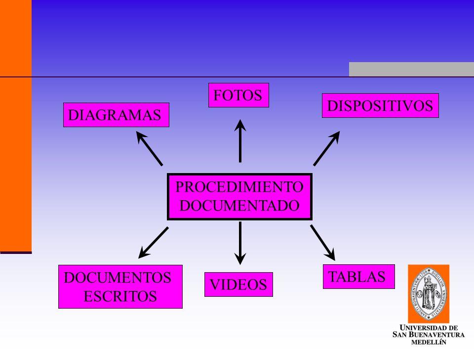 PROCEDIMIENTO DOCUMENTADO FOTOS DISPOSITIVOS TABLAS VIDEOS DOCUMENTOS ESCRITOS DIAGRAMAS
