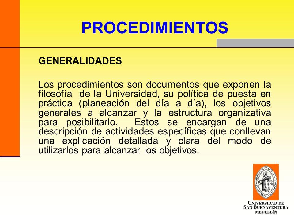 PROCEDIMIENTOS GENERALIDADES.