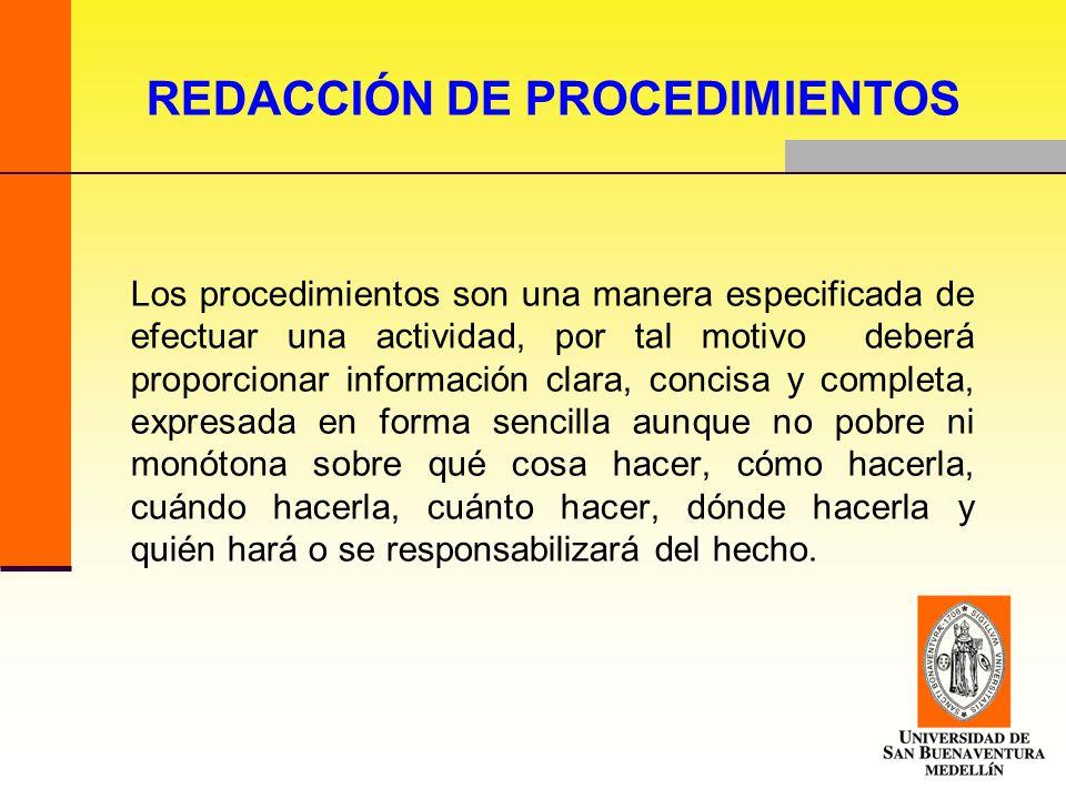 REDACCIÓN DE PROCEDIMIENTOS