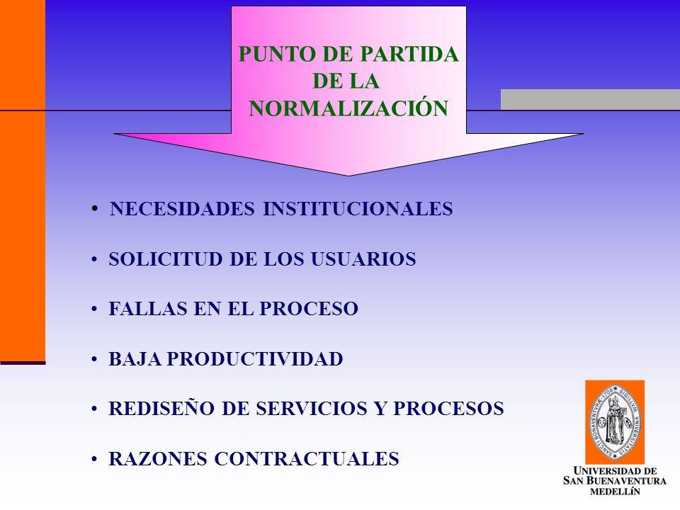 PUNTO DE PARTIDA DE LA NORMALIZACIÓN