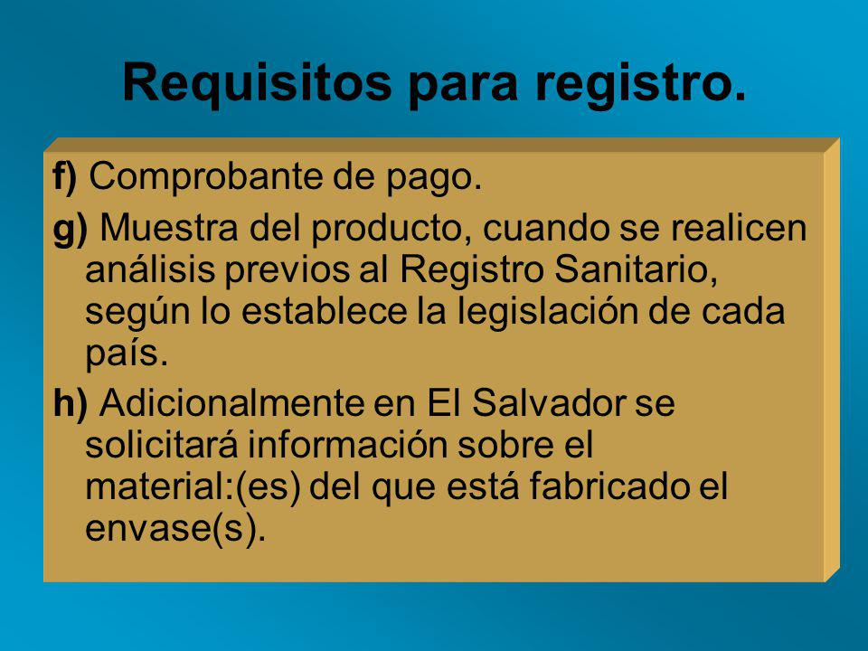Requisitos para registro.